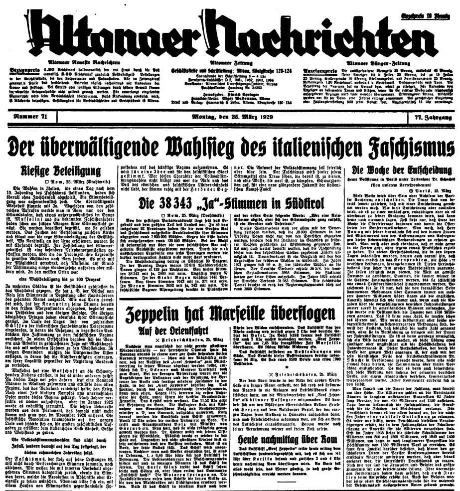 Altonaer Nachrichten vom 25. März 1929: Der überwältigende Wahlsieg des italienischen Faschismus