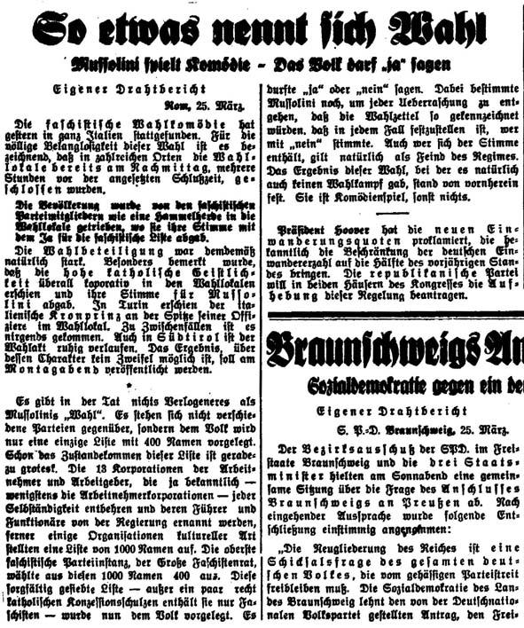 Volkszeitung vom 25. März 1929: So etwas nennt sich Wahl