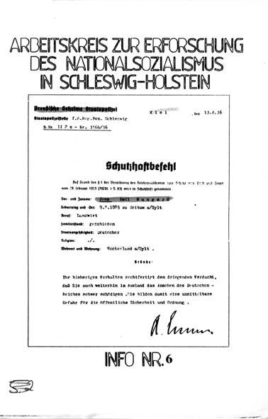 Info 6 Titelbild: Stapo, Schutzhaftbefehl 1936