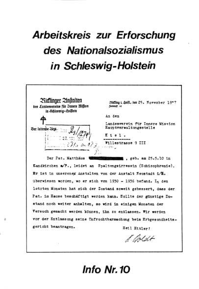 Info 10 Titelbild: Rickling 1937, Unfruchtbarmachung Erbgesundheit