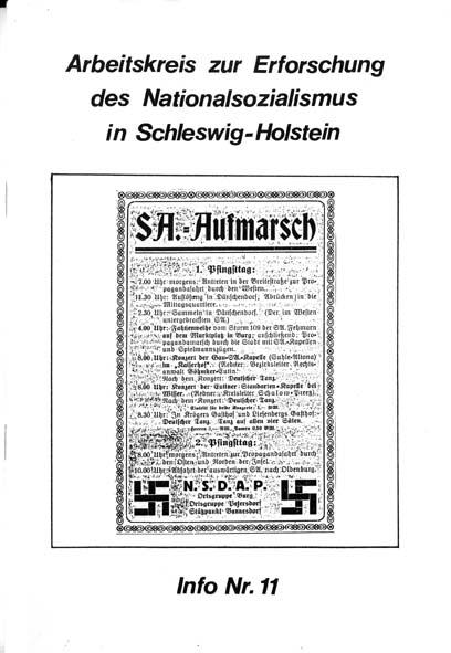 Info 11 Titelbild: SA-Aufmarsch, Anzeige der NSDAP, Fehmarn 1931