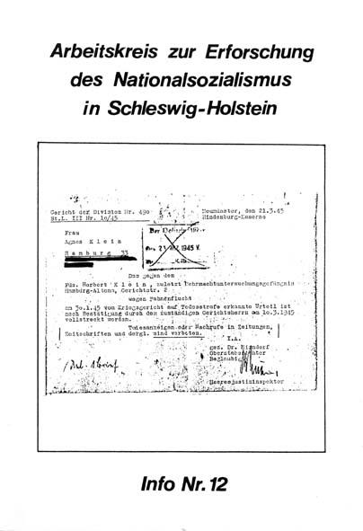 Info 12 Titelbild: Todesurteil, Divisionsgericht, Neumünster 1945