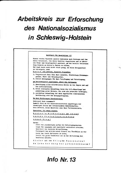 Info 13 Titelbild: Merkblatt für Bauarbeiter, Bästlein-Organisation, Hamburg 1941