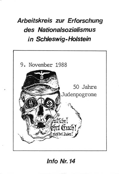 Info 14 Titelbild: Zeichnung zum Seminar 50 Jahre danach: Judenpogrome in Schleswig-Holstein 1938