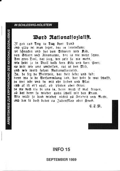 Info 15 Titelbild: Plattdeutsches Gedicht: Ward Nationalsozialist, 1929