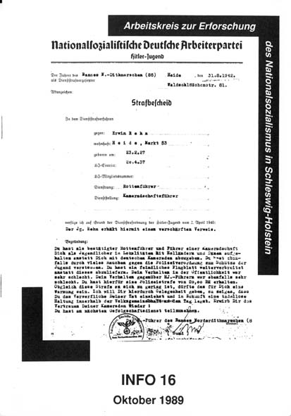 Info 16 Titelbild: Verweis eines HJ-Mitglieds, Dithmarschen 1942