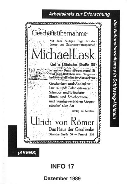 Info 17 Titelbild: Arisierung eines Geschäftes in Kiel, 1938