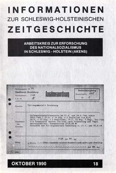 ISHZ 18 Titelbild: Transportkostenabrechnung für so genannte Nacht und Nebelgefangene, Rendsburg 1944