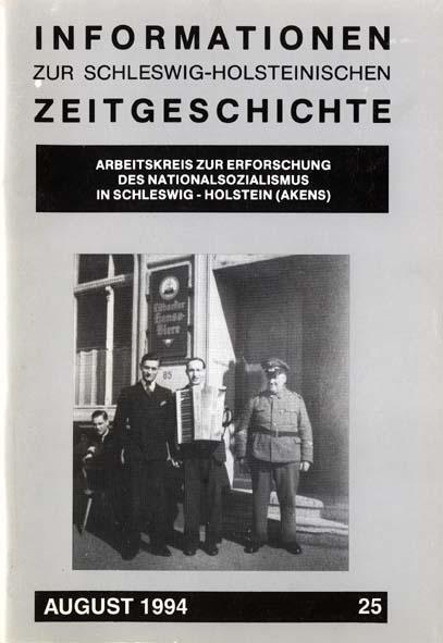 ISHZ 25 Titelbild: Kollegen des niederländischen Zwangsarbeiters V.  mit Blockwart und Hotelbesitzer vor dem Hotel Stadt Lübeck, Januar 1943